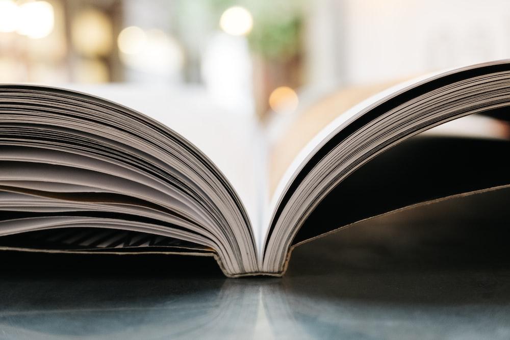 bokeh photography of open book