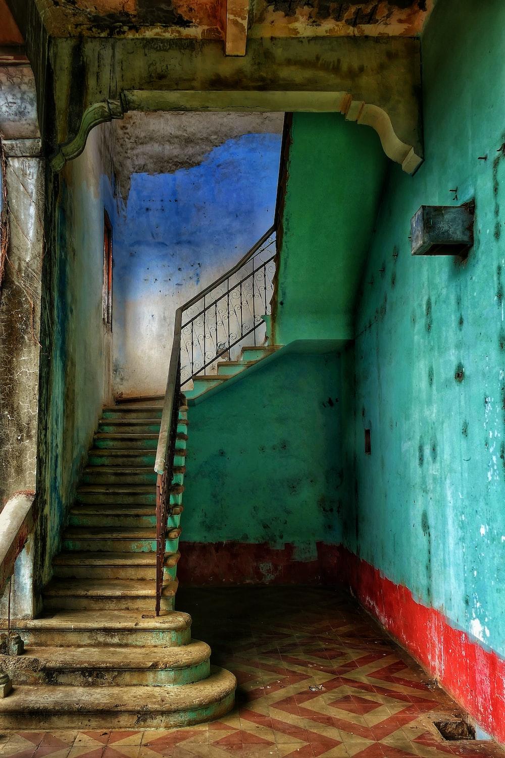 brown concrete staircase