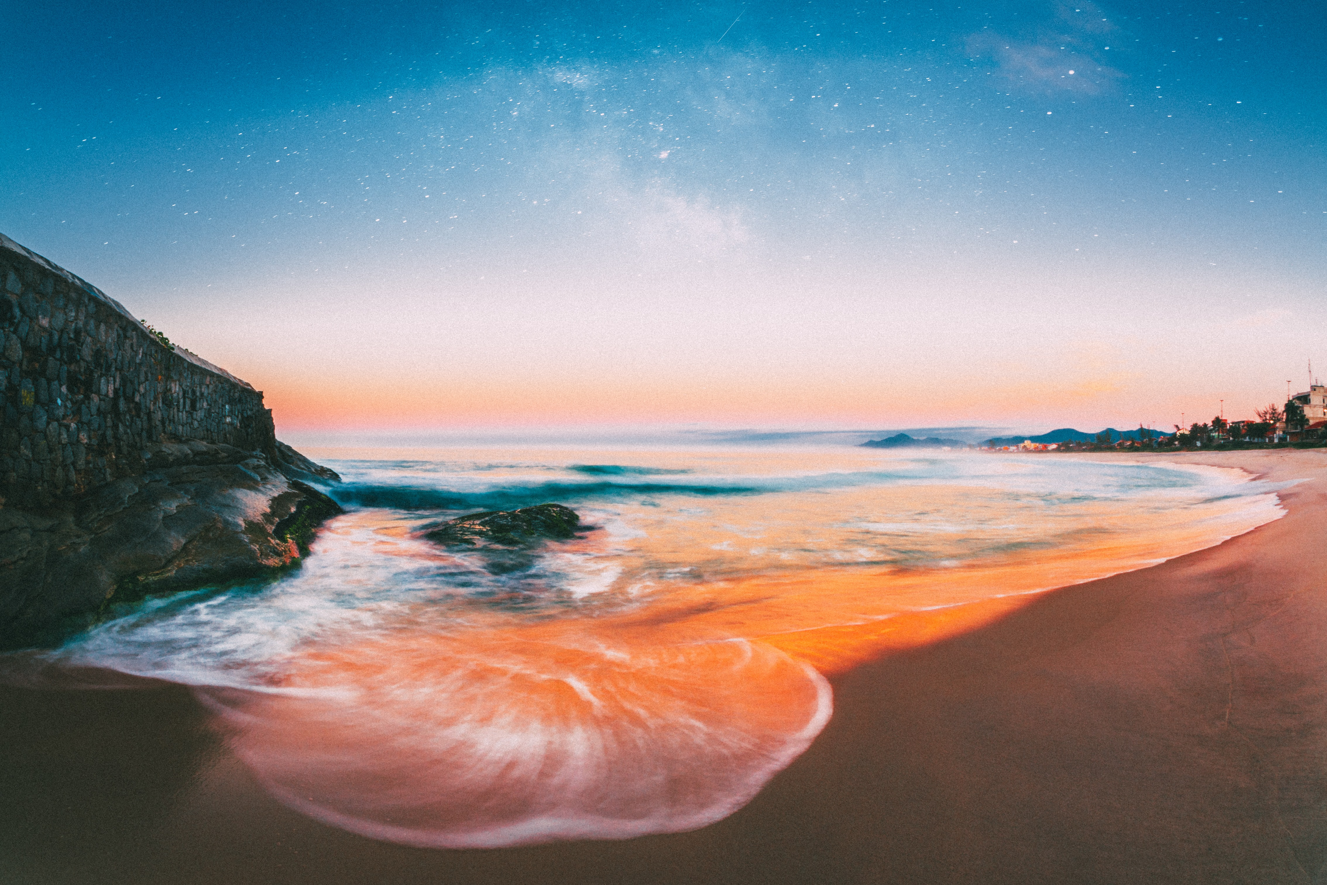 time-lapse photography of waves on shore