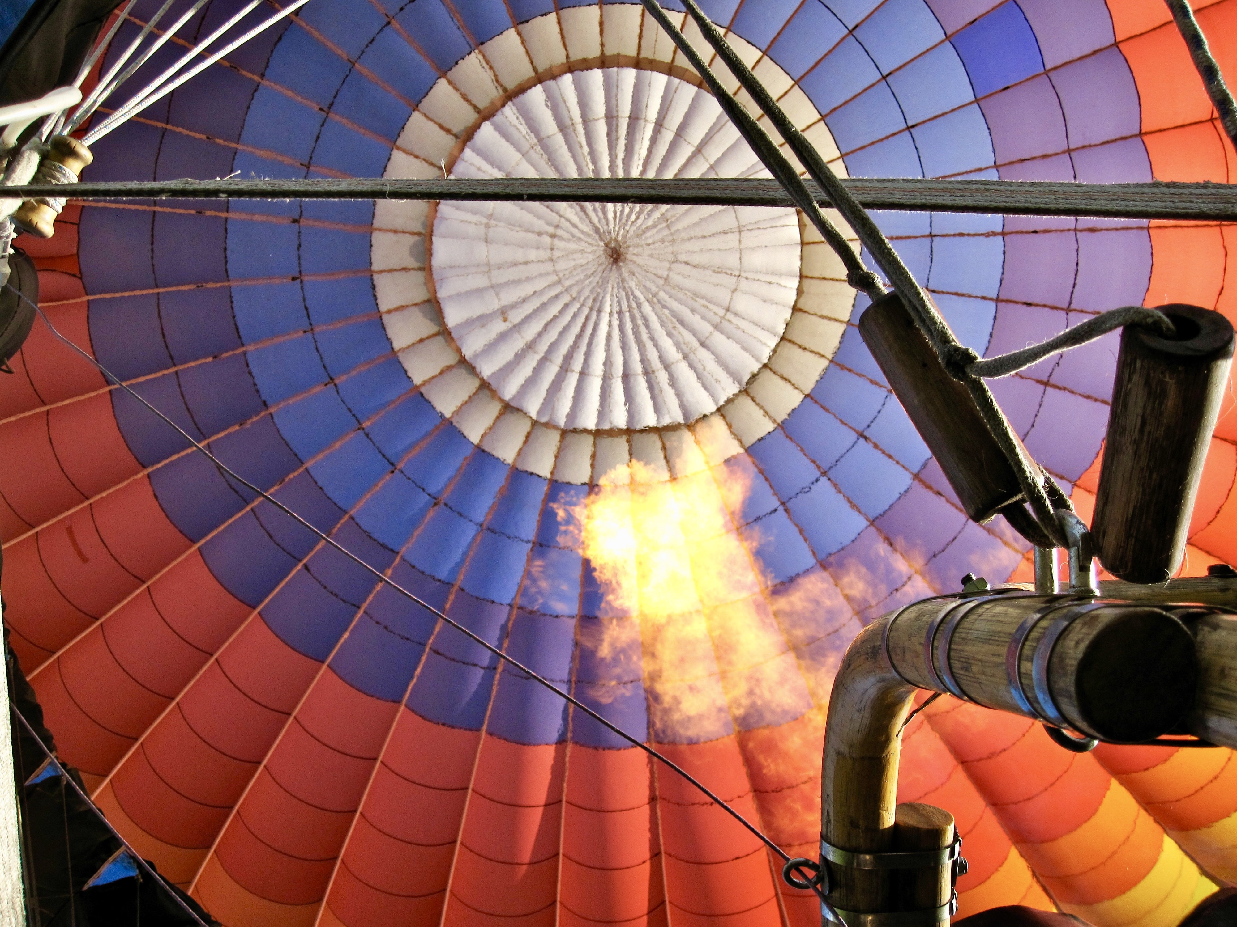 low angle photography of multicolored hot air balloon