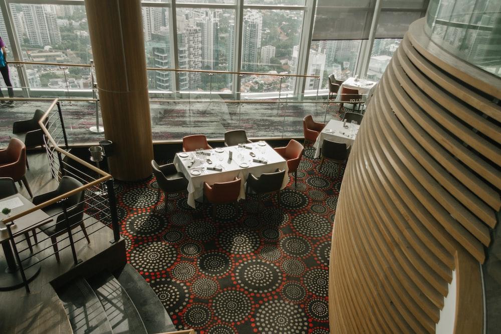 aerial view of restaurant interior