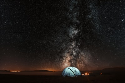 blue tent under milkyway camping zoom background