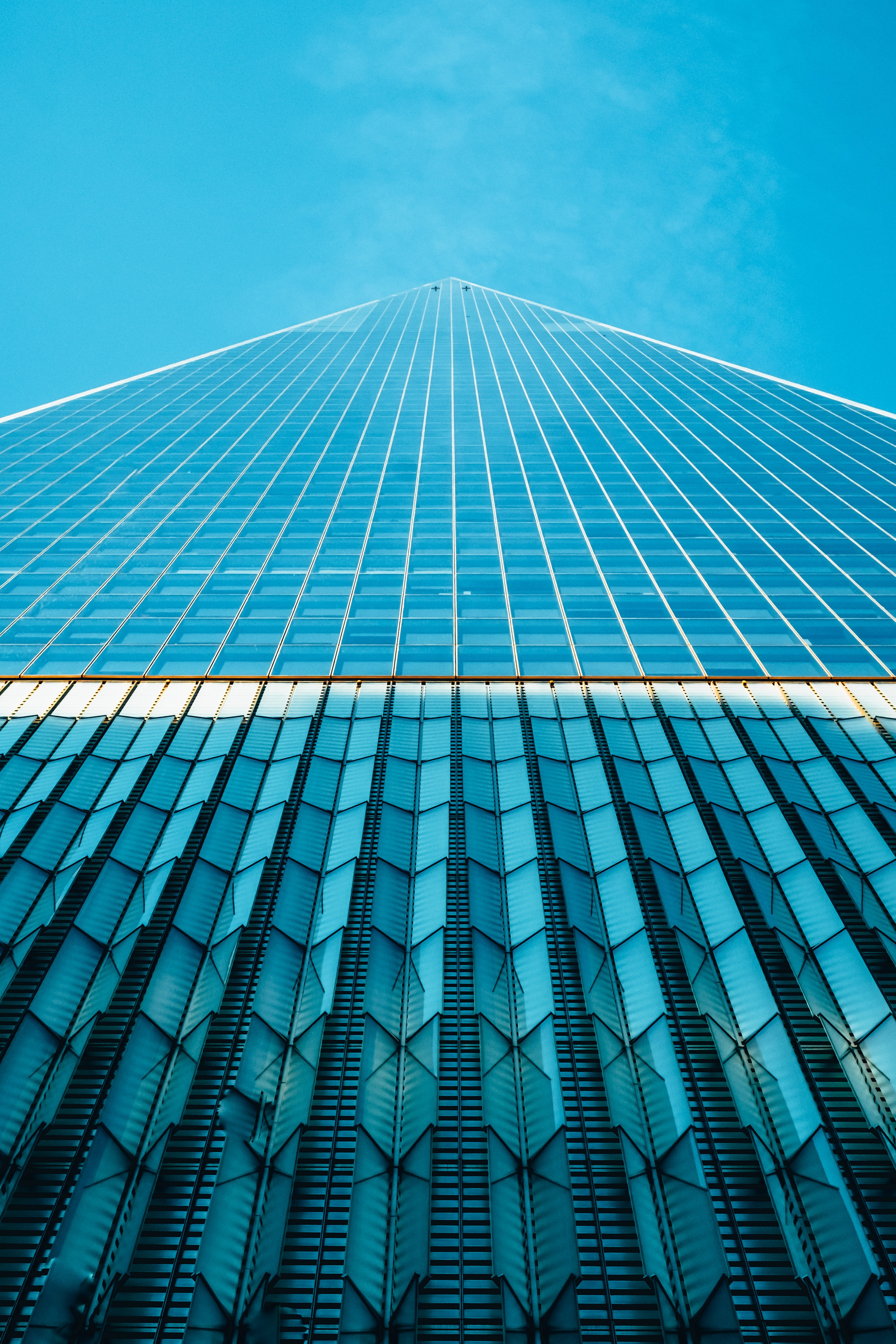 worm's eye view of glass buildings