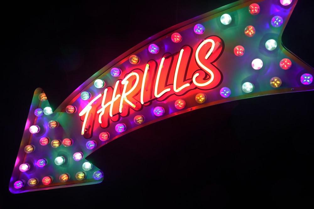 Thrills neon sign