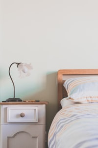 table lamp on top of nightstand