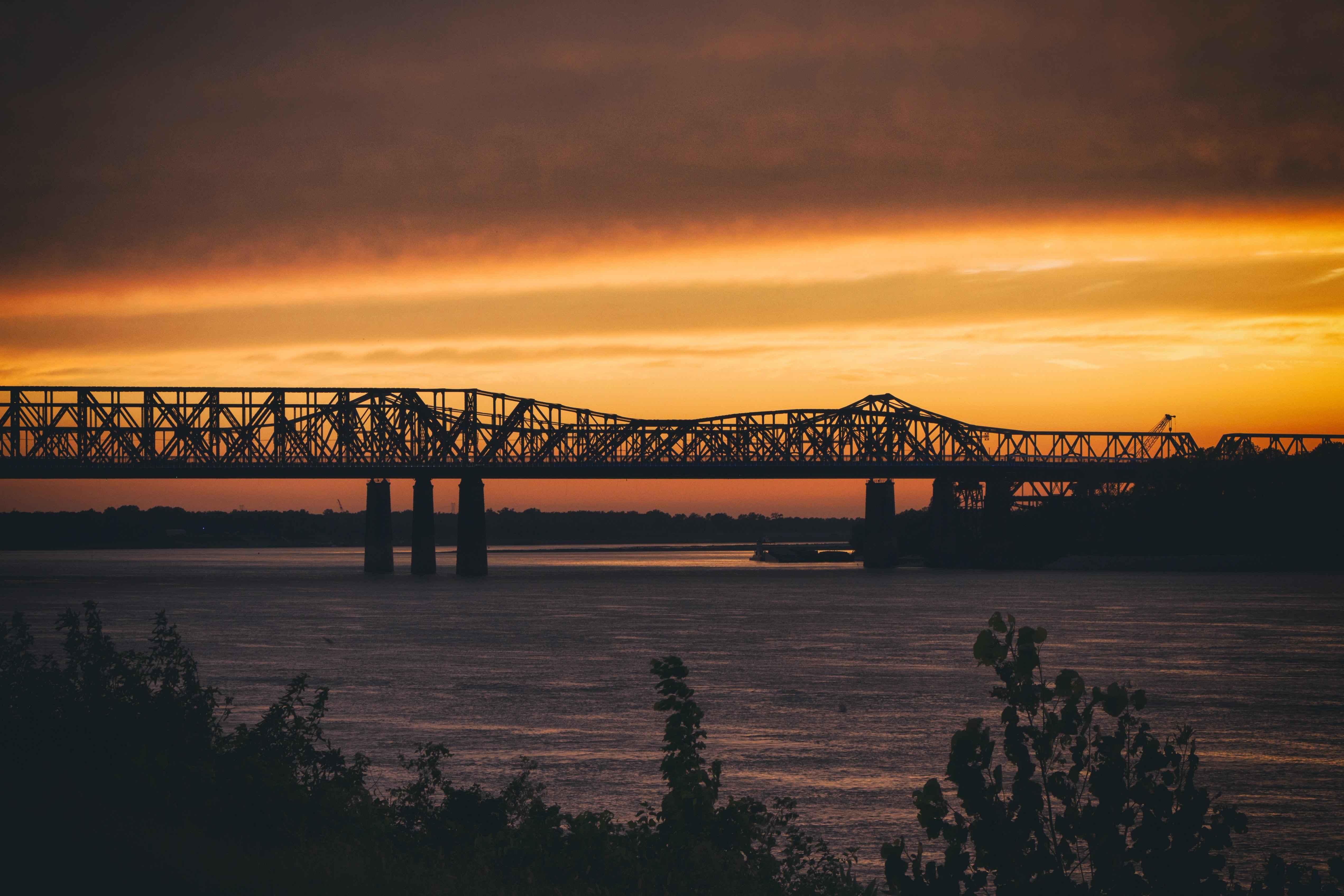 landscape photography of bridge during sunset