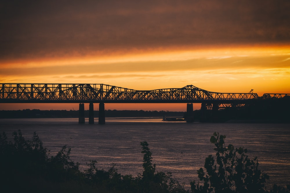 landscape photography of bridge during sunset