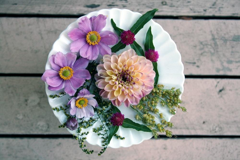 flowers on white ceramic plate