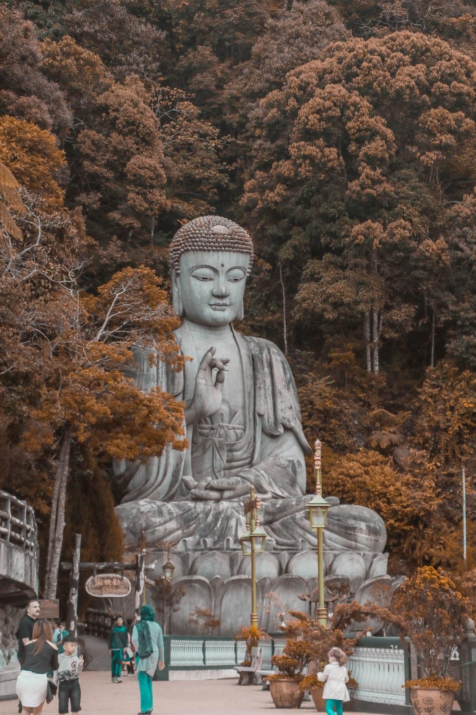 People Walking Near Buddha Statue Trees At Daytime