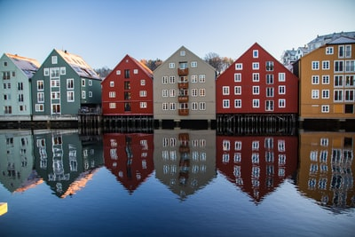 multicolored village wallpaper norway zoom background