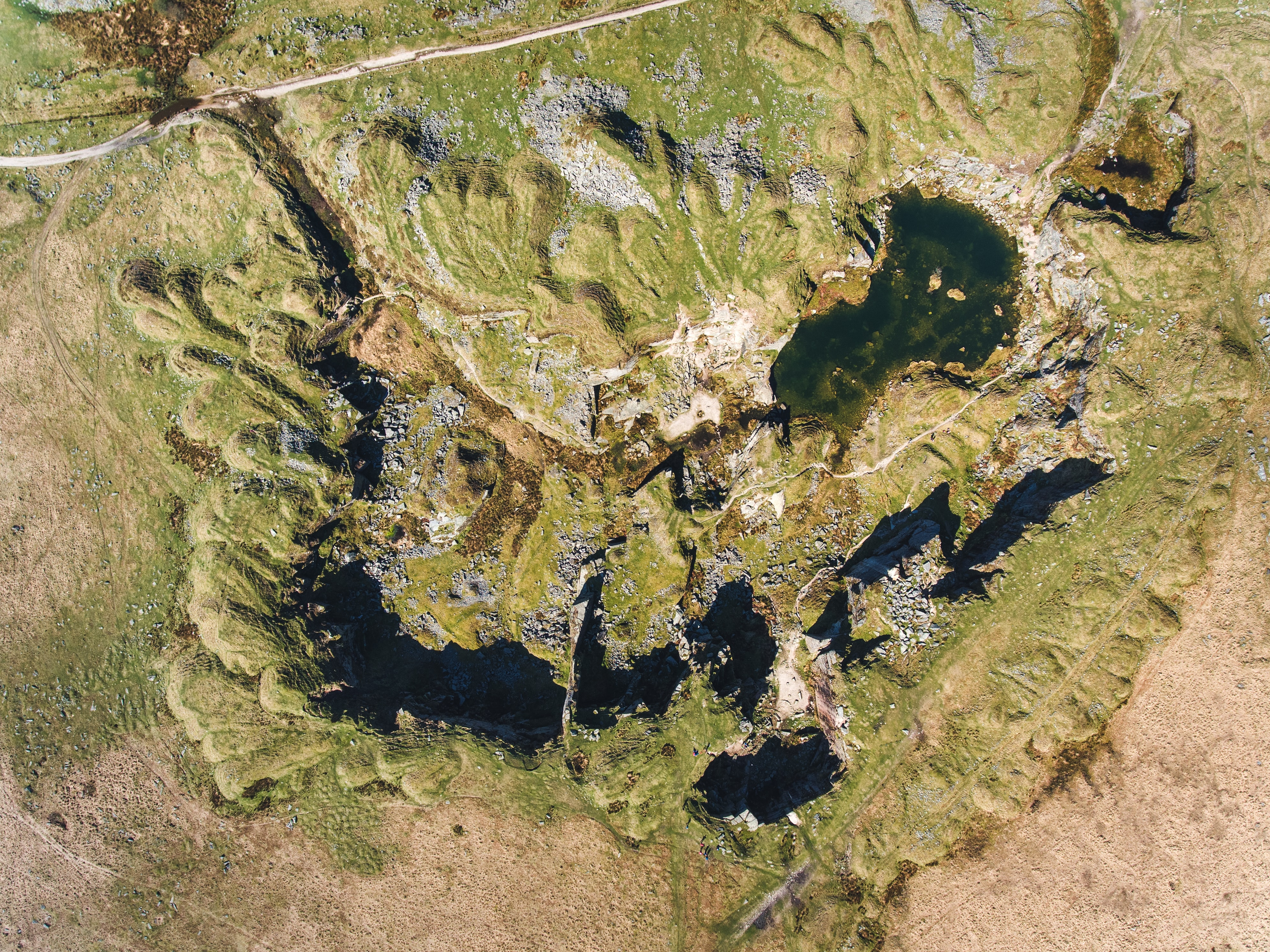 aerial view of lakes