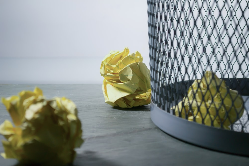 yellow crumpled papers