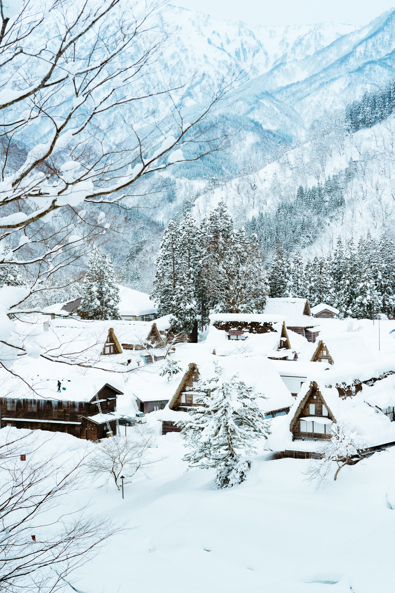 brown wooden houses field with snow near mountain
