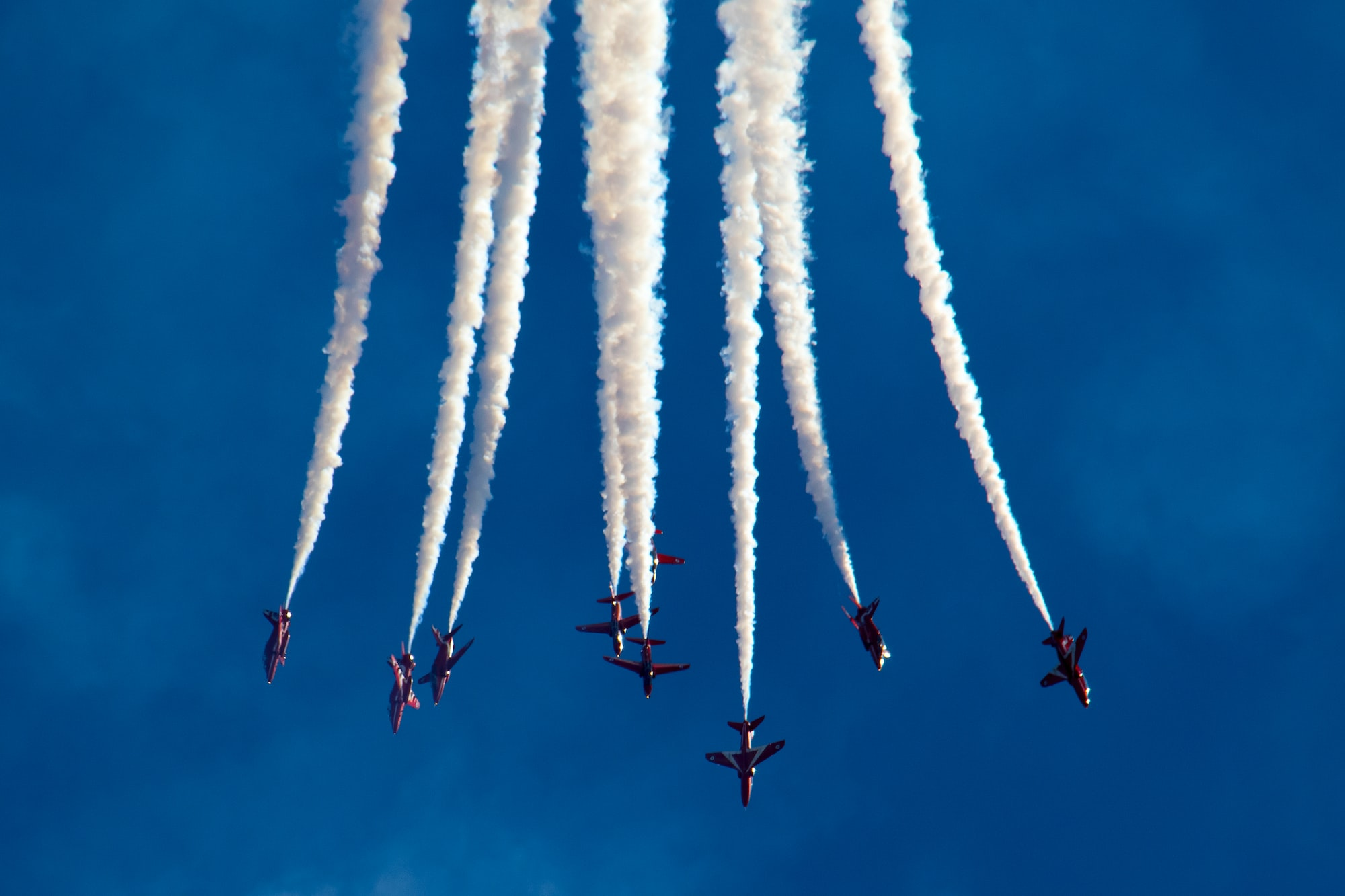 The RAF Red Arrows complete an annual display at the 3-day Bournemouth Airshow.  Often, travelling at over 400mph and at a distance of 6ft from each other, the team is recognised as one of, if not, the best air display team in the world.