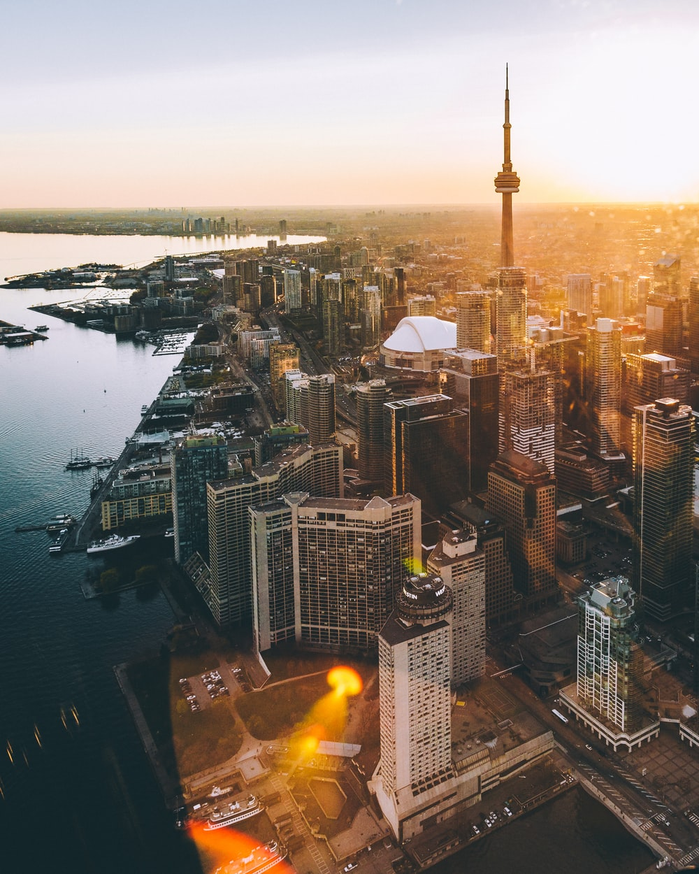 aerial photo of city during golden hour