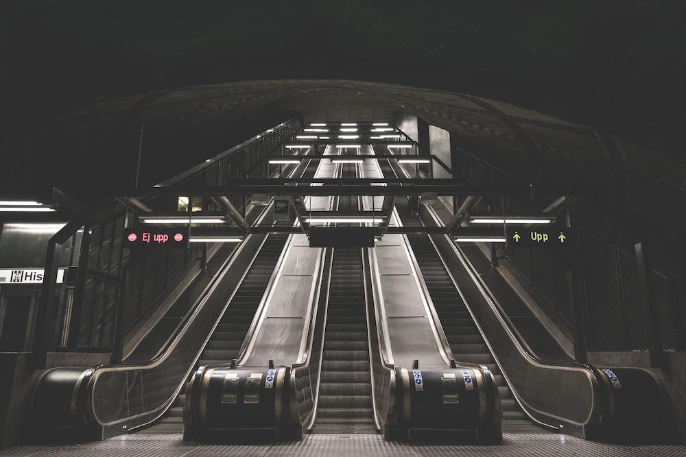 landscape photo of escalator