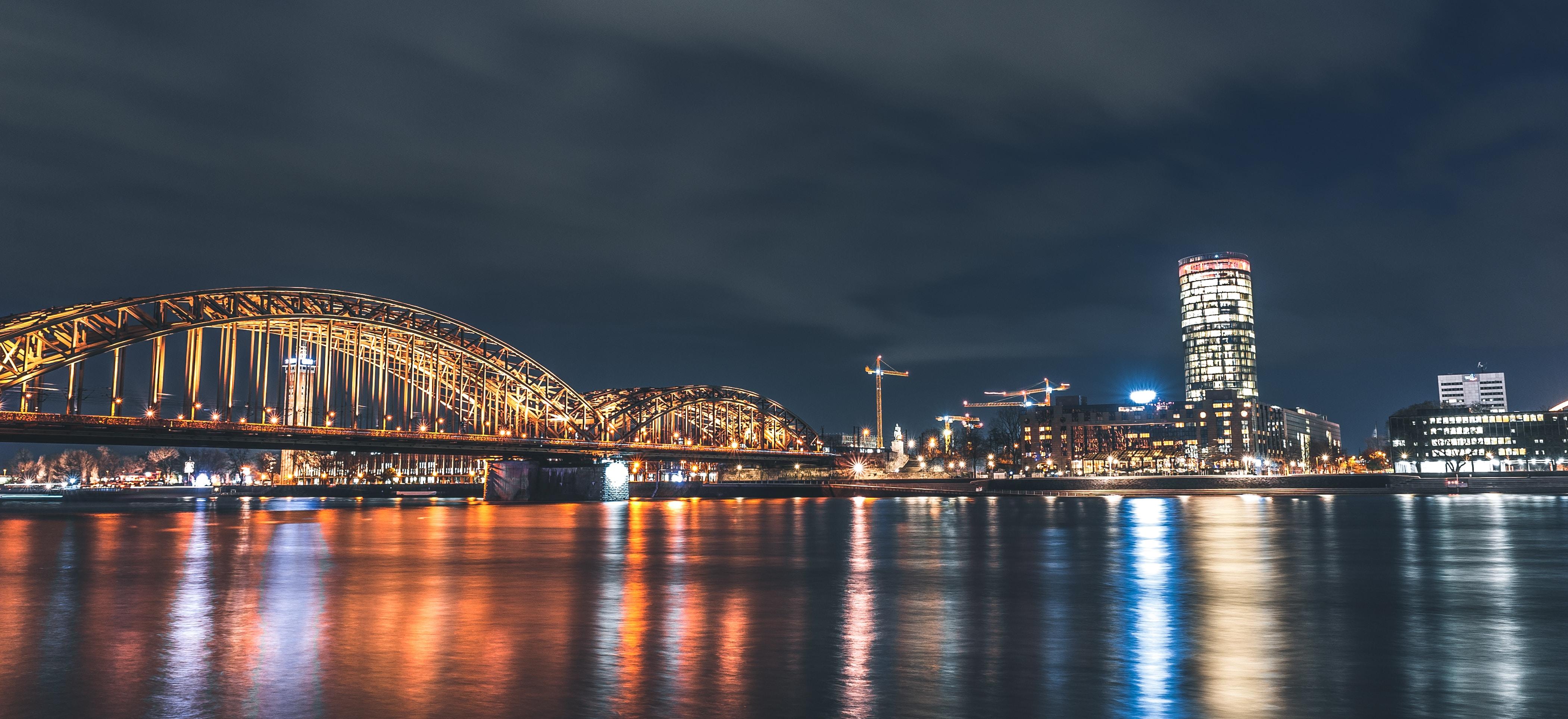 panorama photo t of city during night