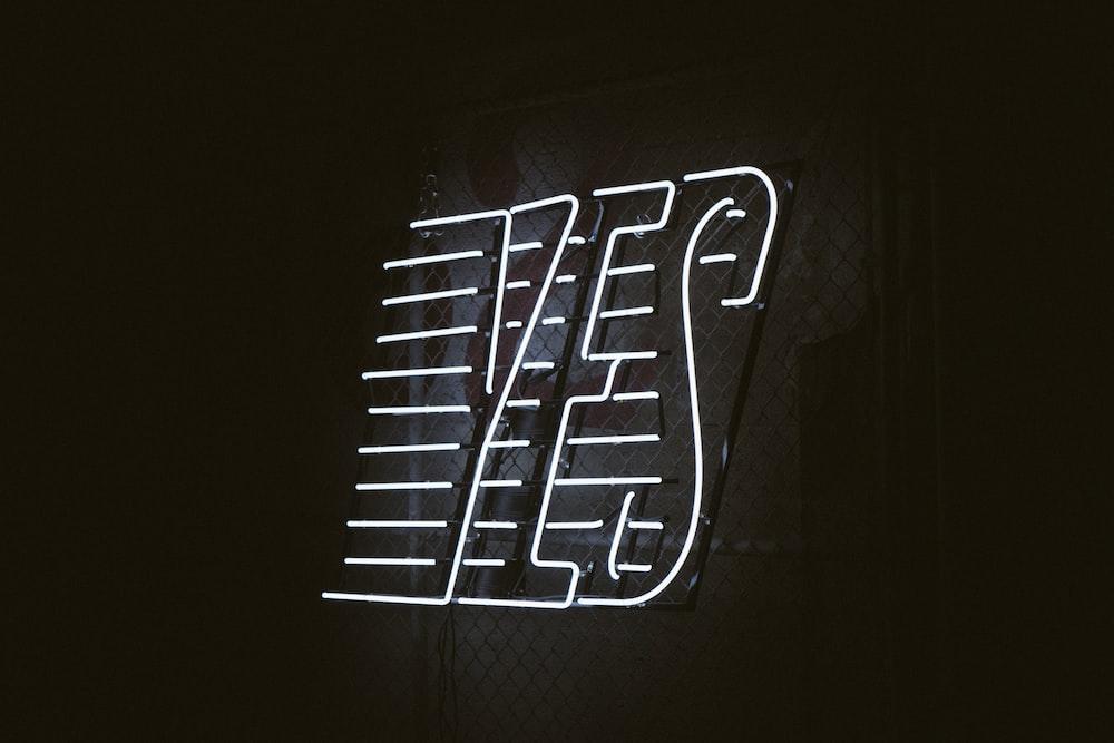 turned on white YES LED signage