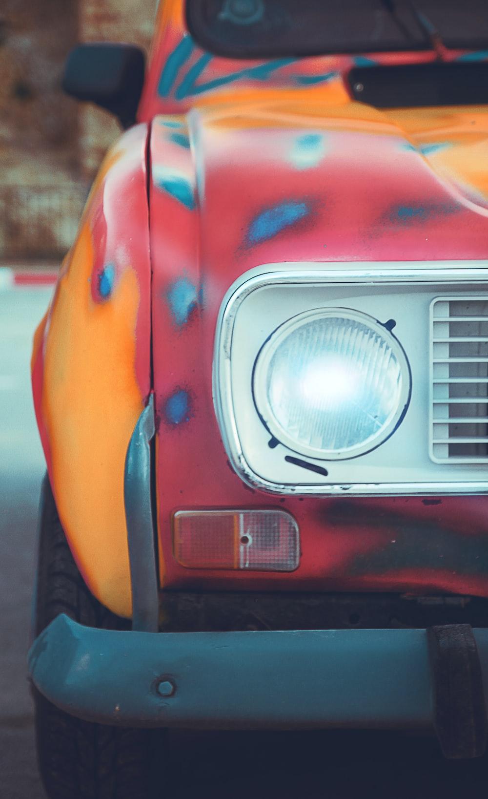red and orange car