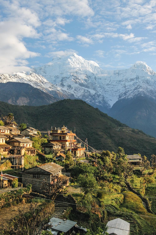 houses overlooking mountain range