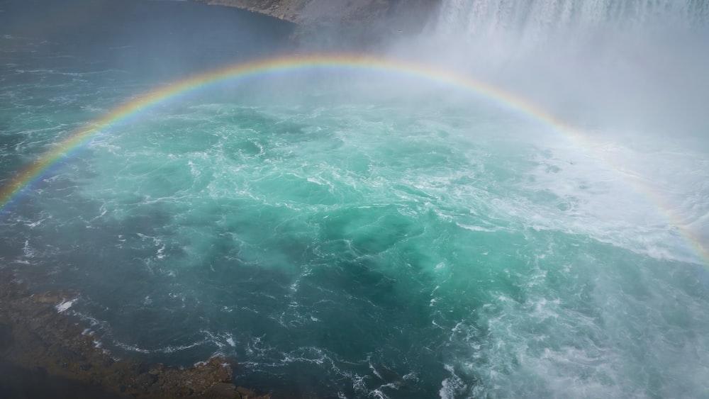 rainbow on waterfalls