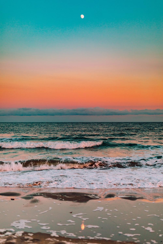Ocean Moon Pictures Download Free Images On Unsplash Wallpaper sunset moon sea rocks waves
