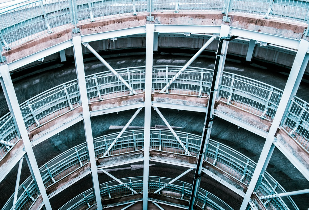 aerial photography of round building interior