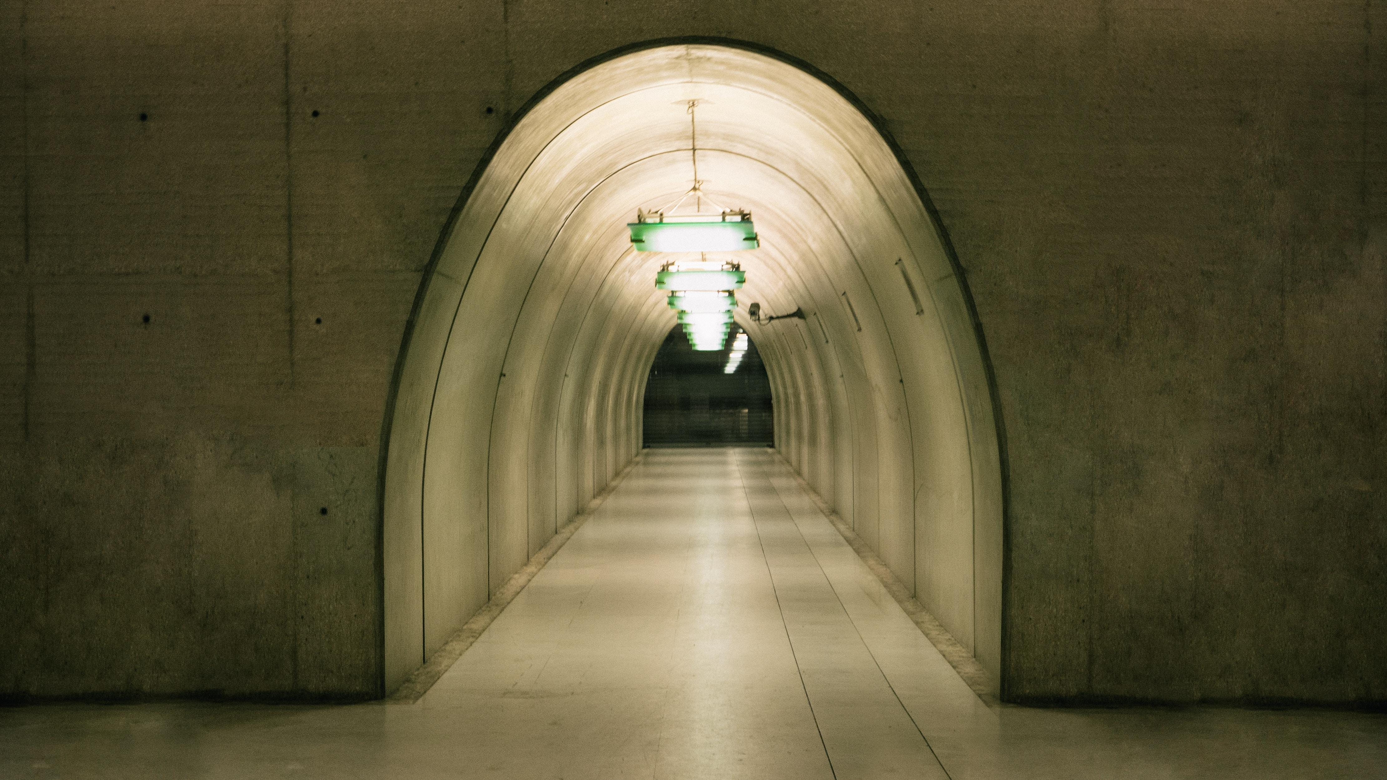 empty beige tunnel