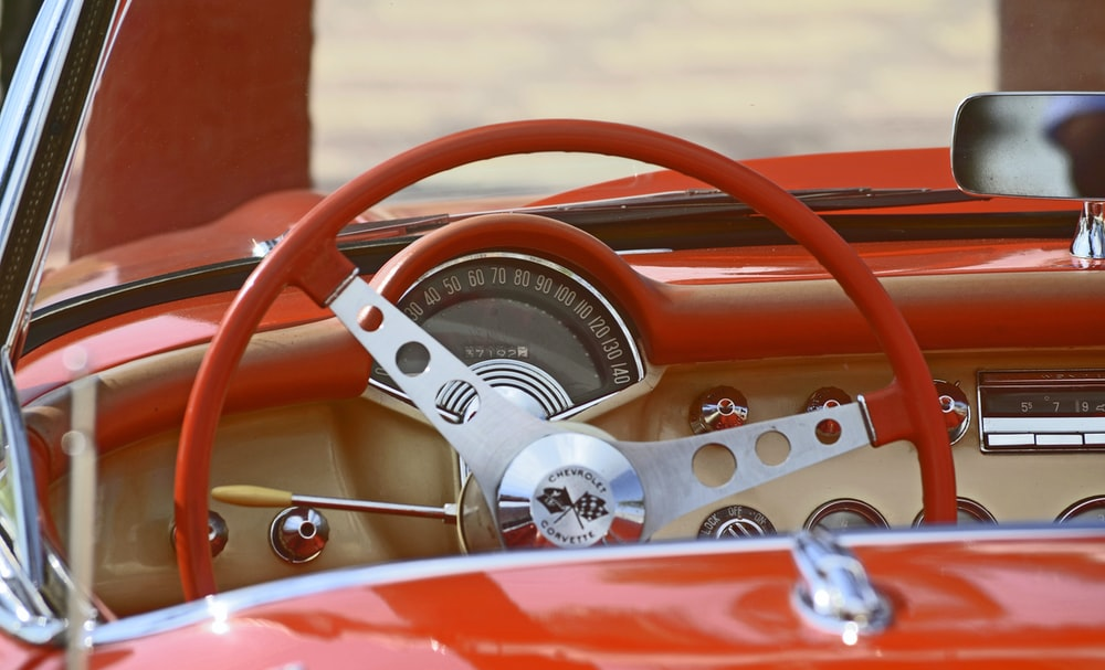 classic red and white car interior