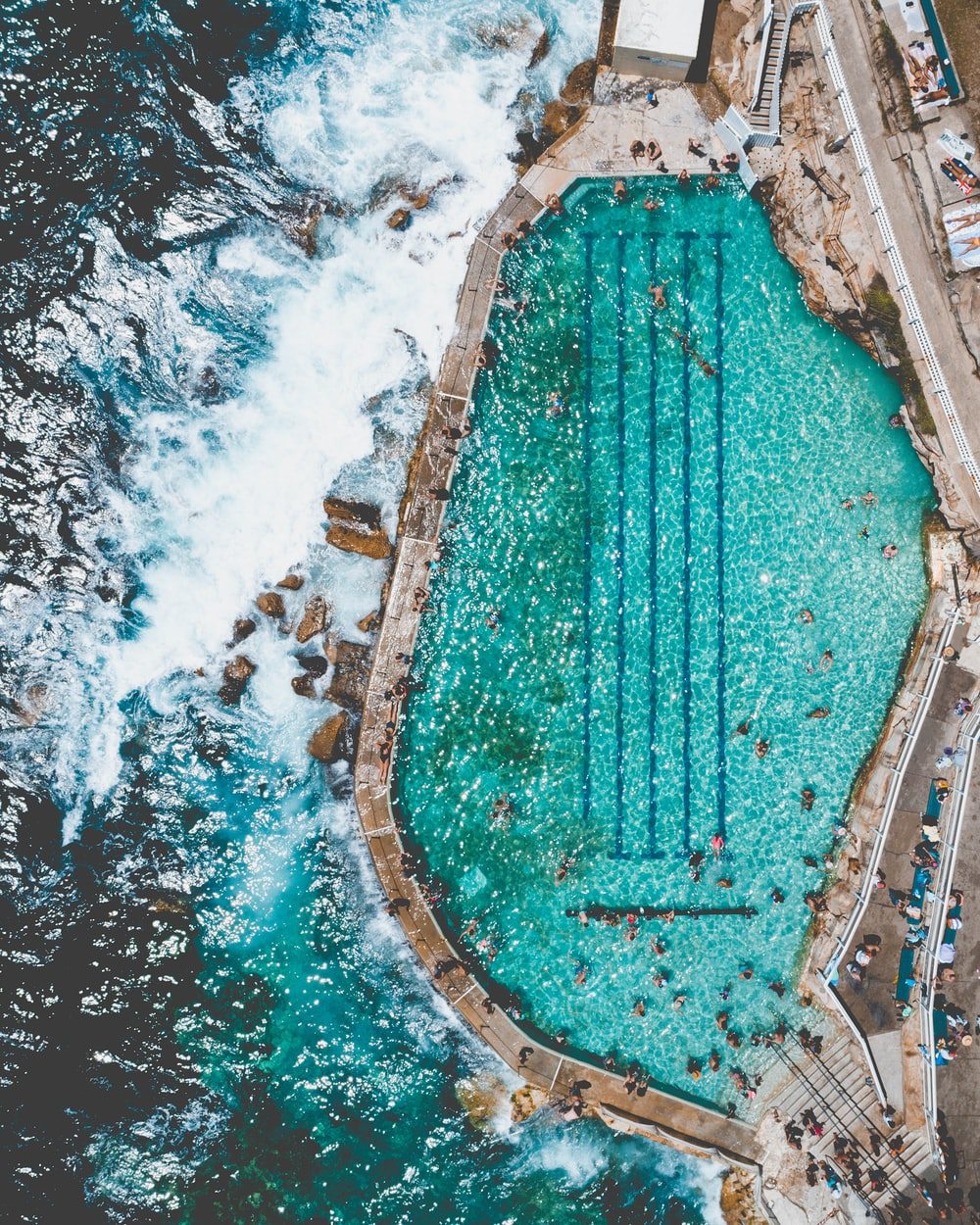 aerial view of beach and pool