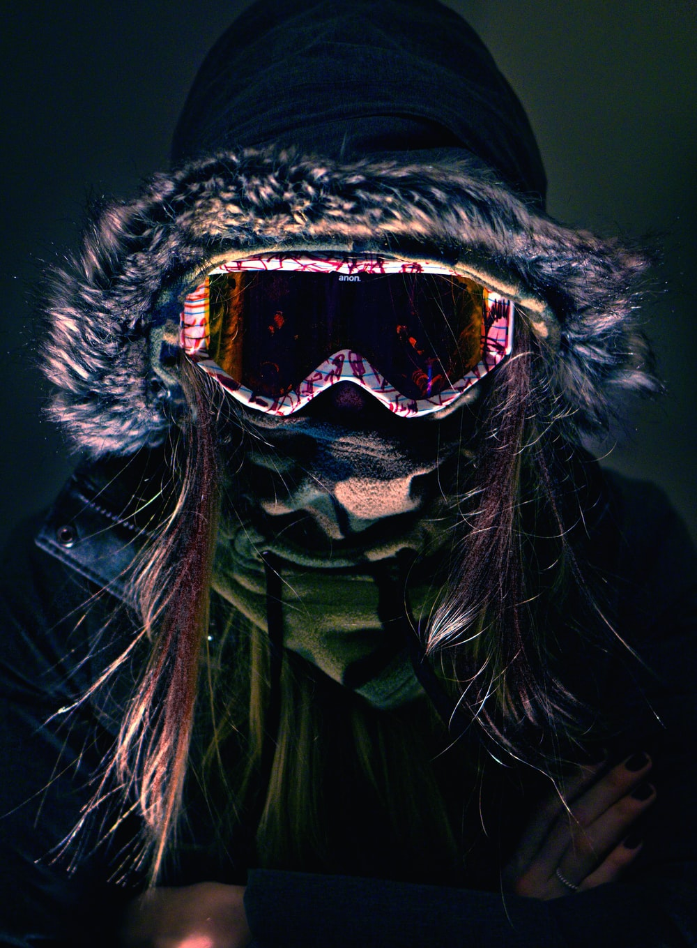 person wearing parka jacket and snow goggles