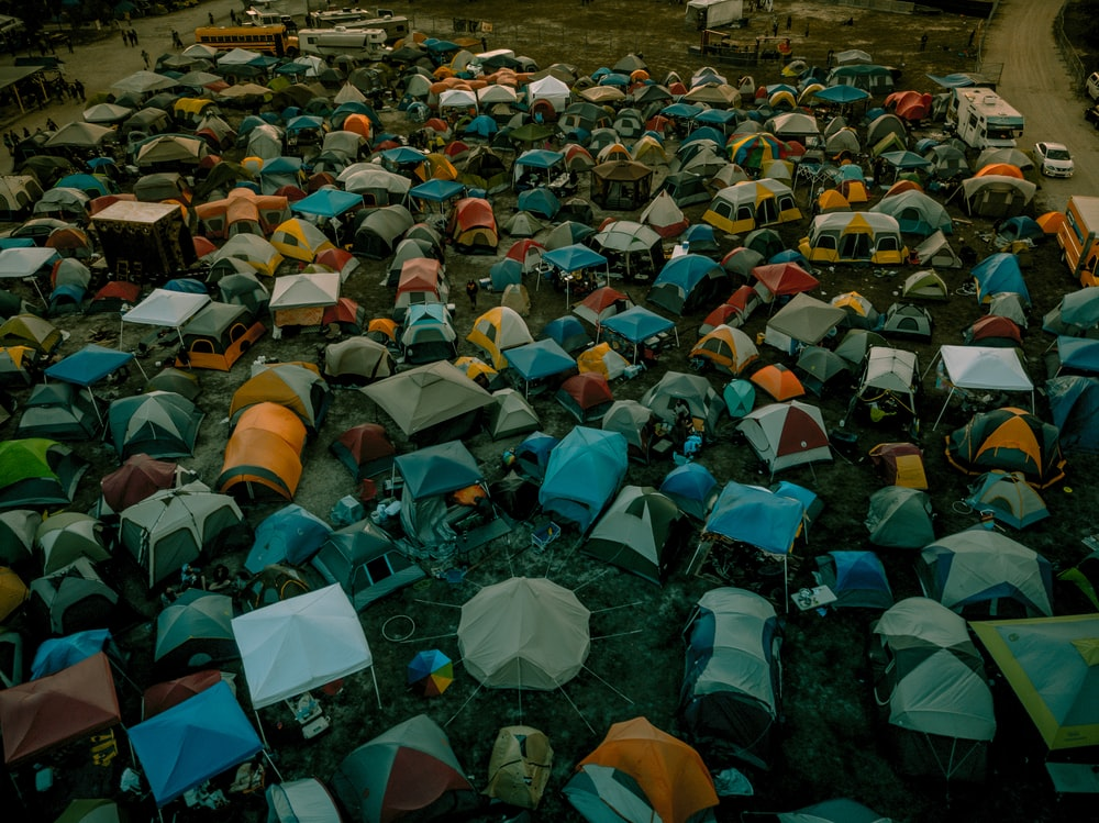 aerial photography of tent lot