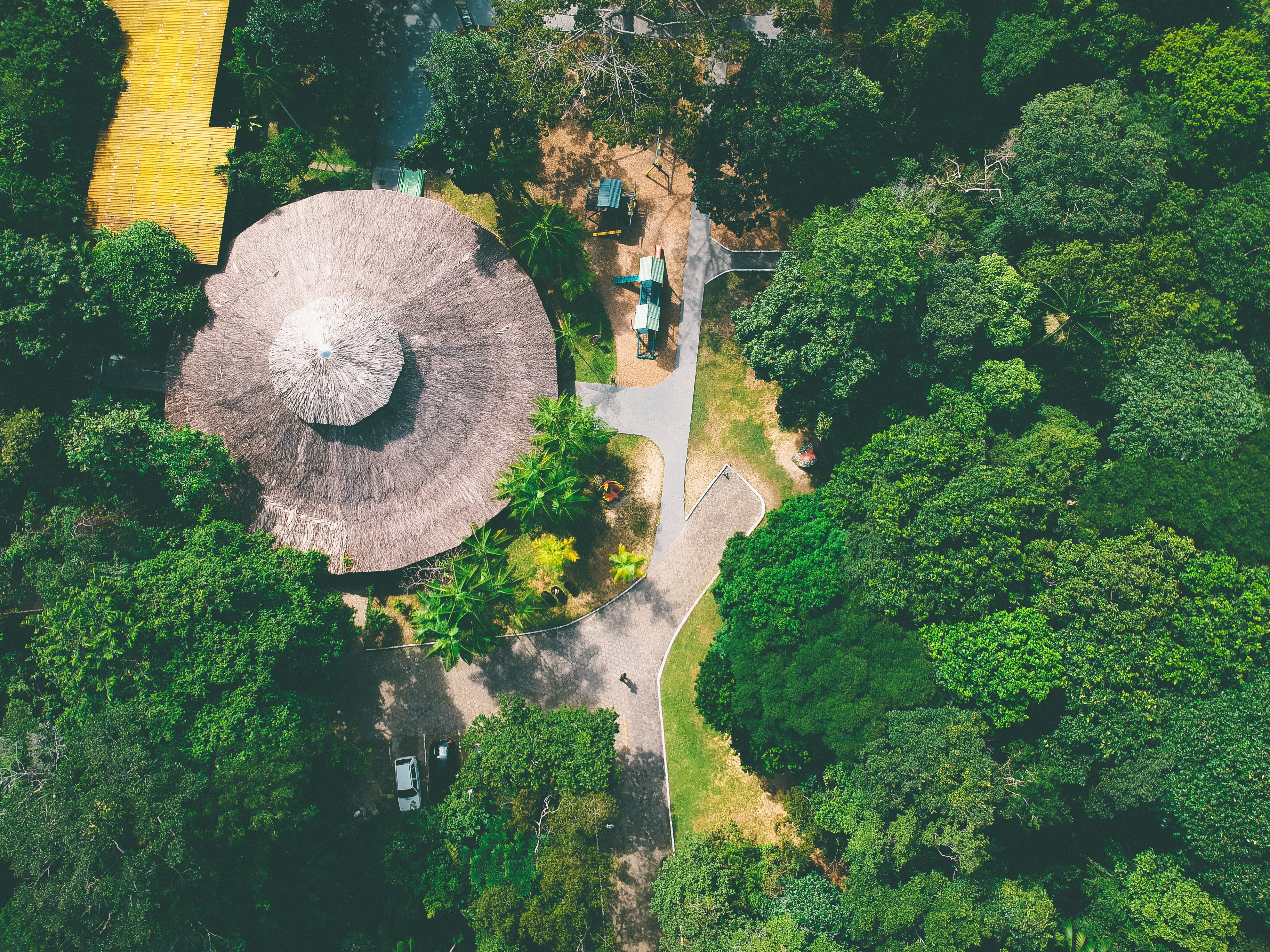 high angle photo of structure surrounded with green trees
