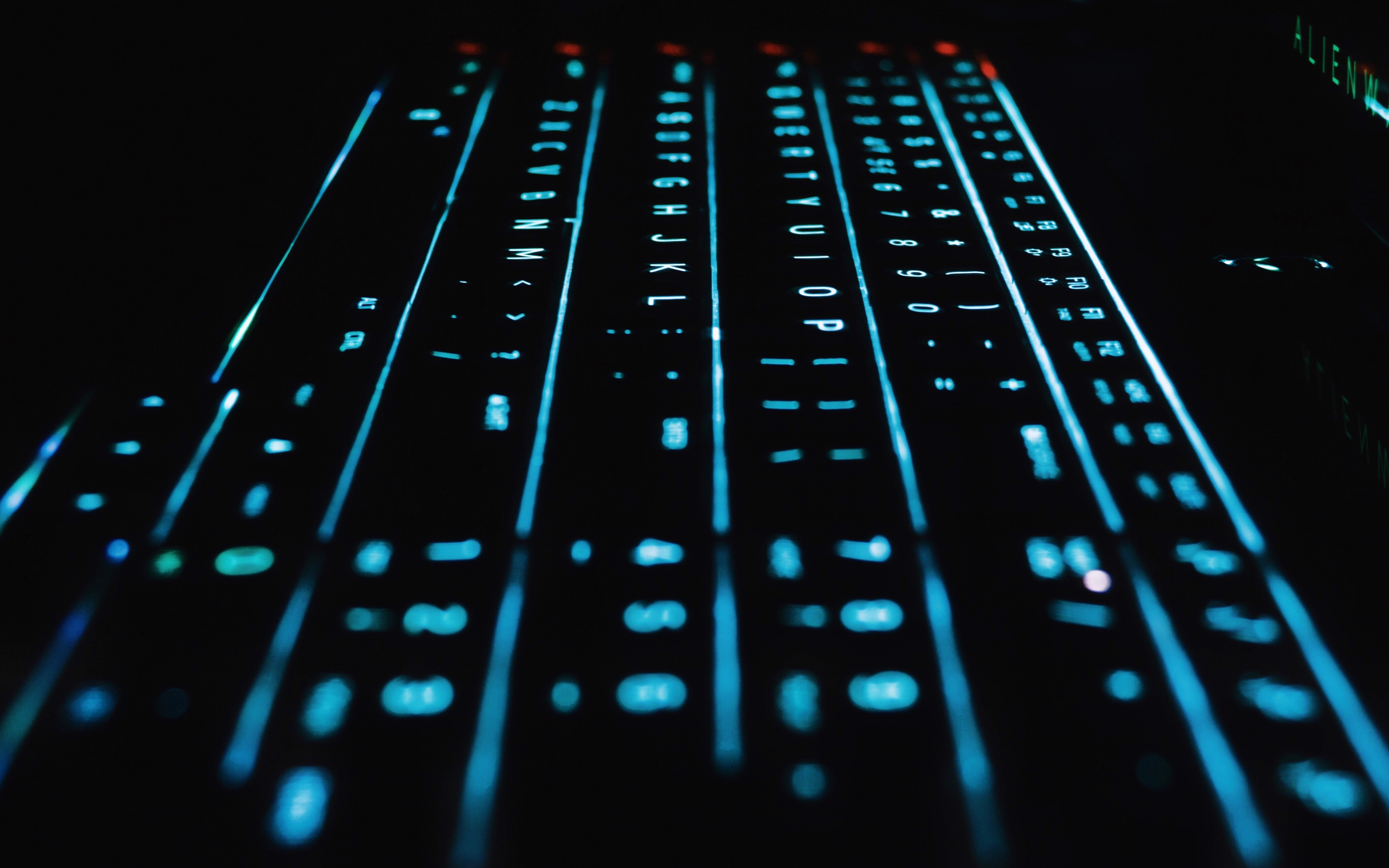 computer mechanical keyboard with blue LED light