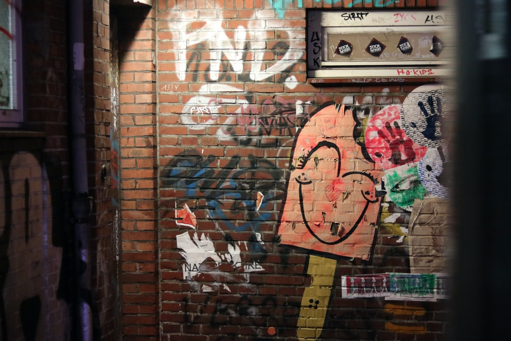 photo of painted brick wall