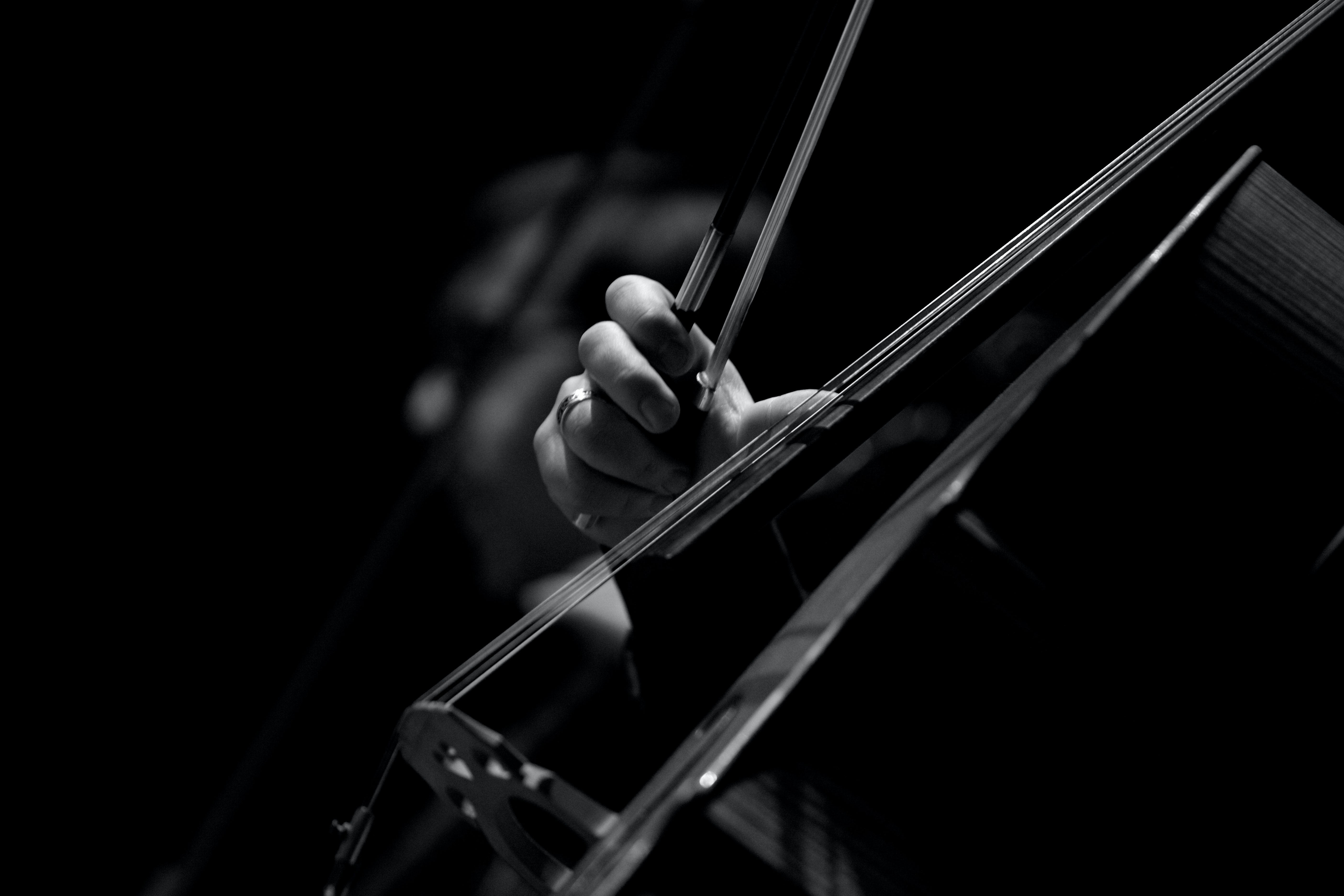 grayscale photo of persons playing violin