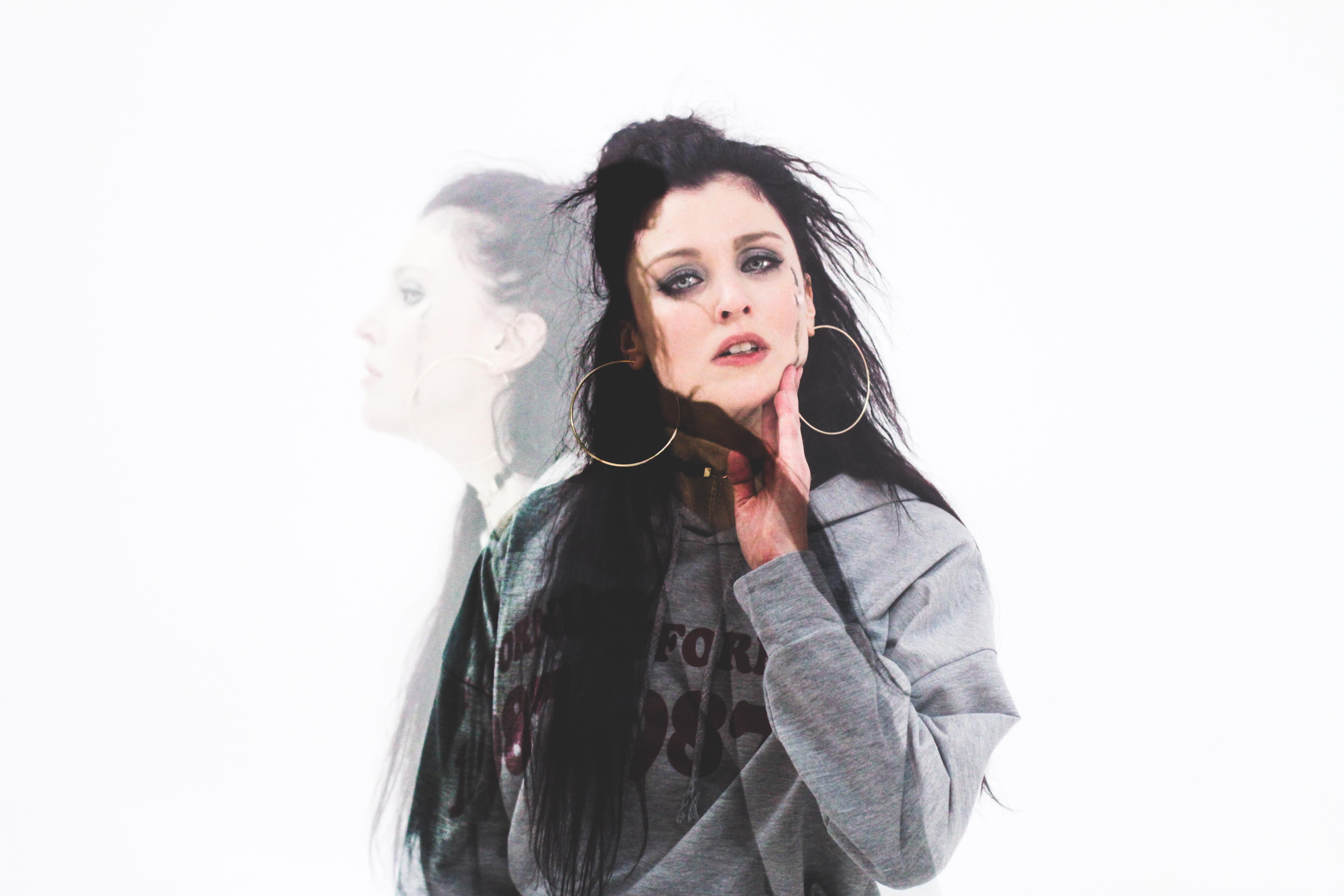 women's grey and black hoodie