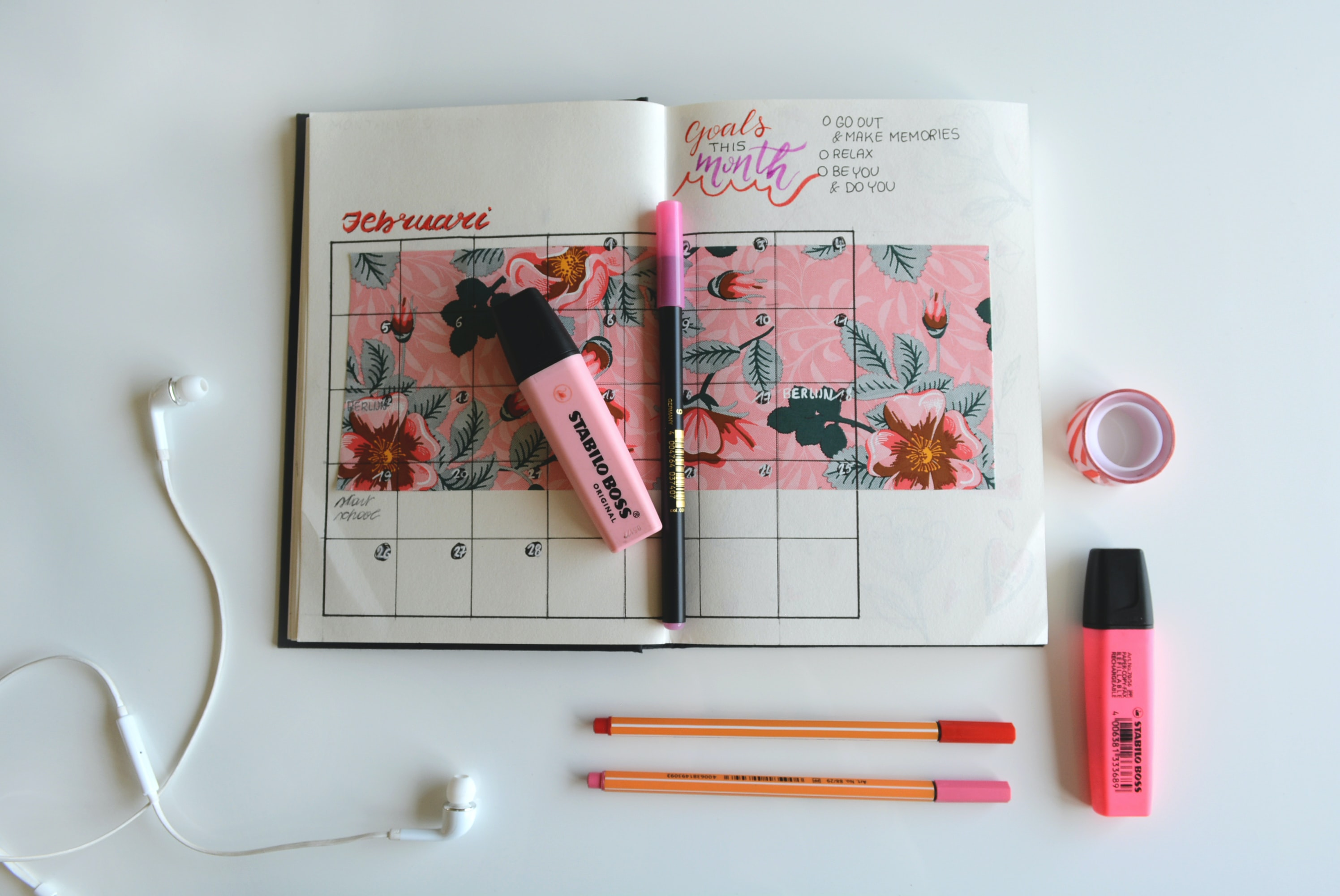 calendar notebook with highlighter pens