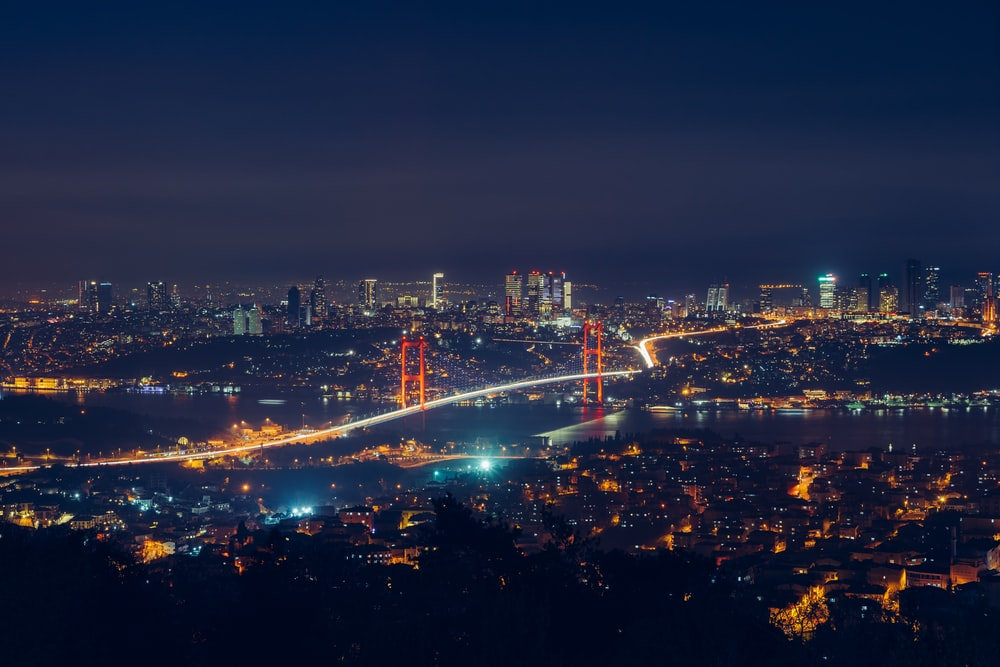 top view photography of lighted city