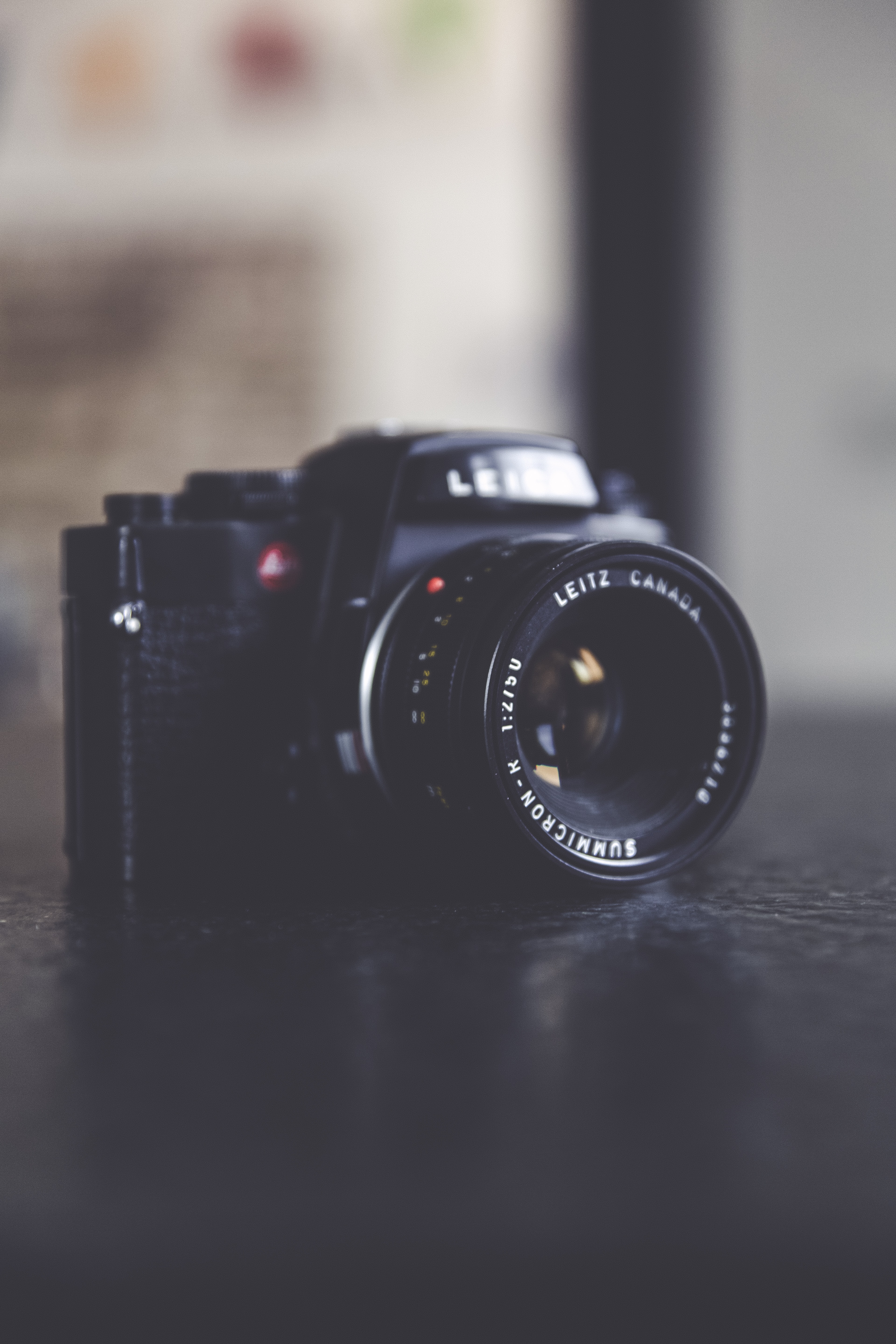 selective focus photography of DSLR on table