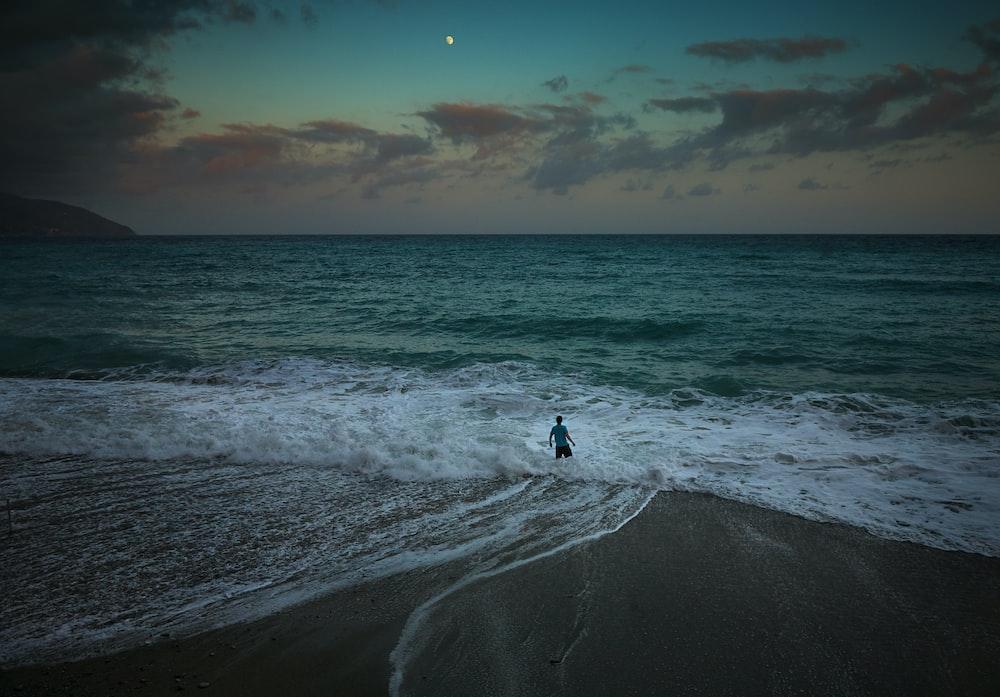 man catching waves