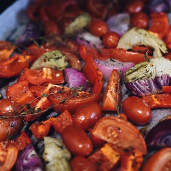 sliced tomatoes and onions