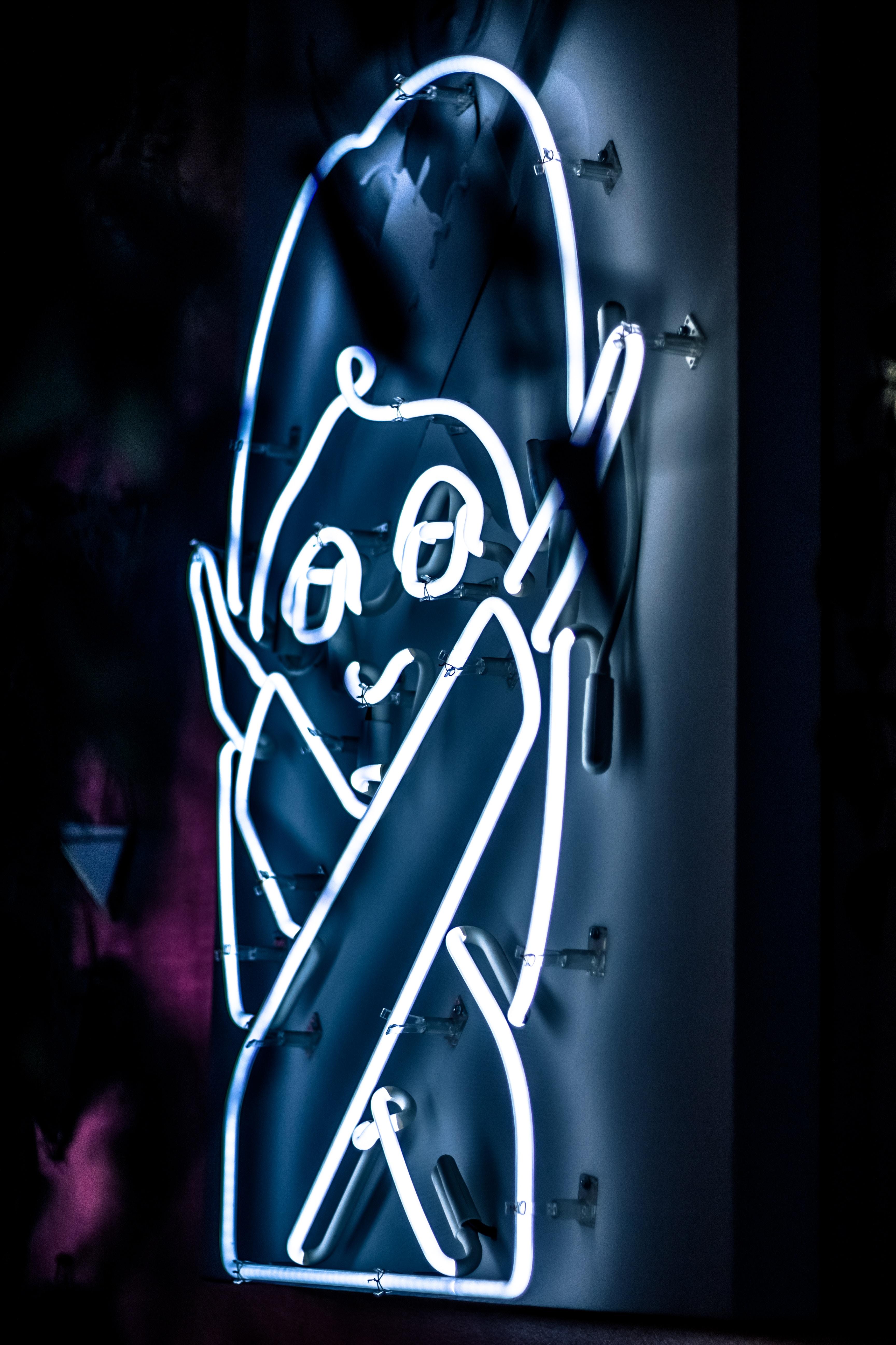 white neon signage