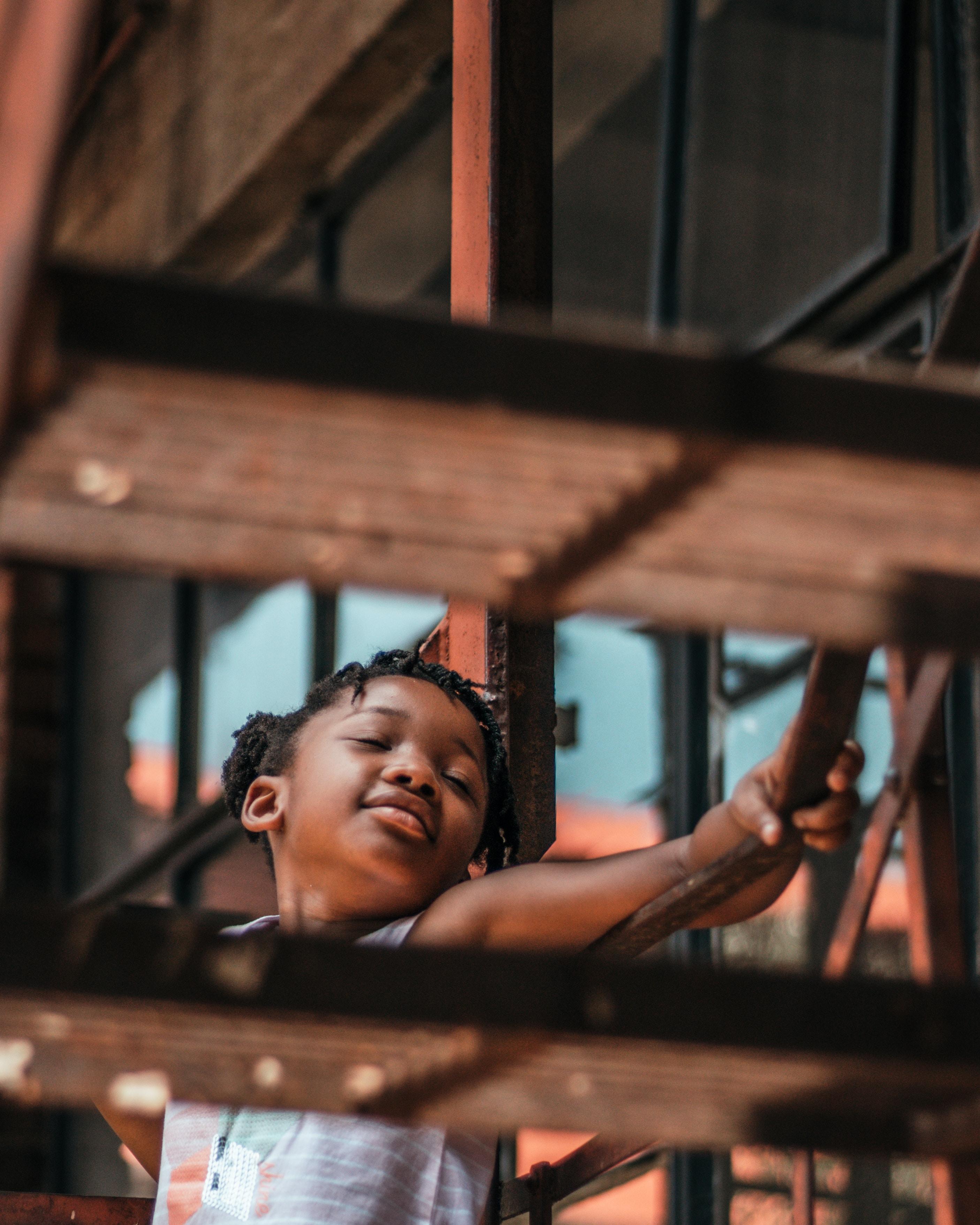 girl on stair near building