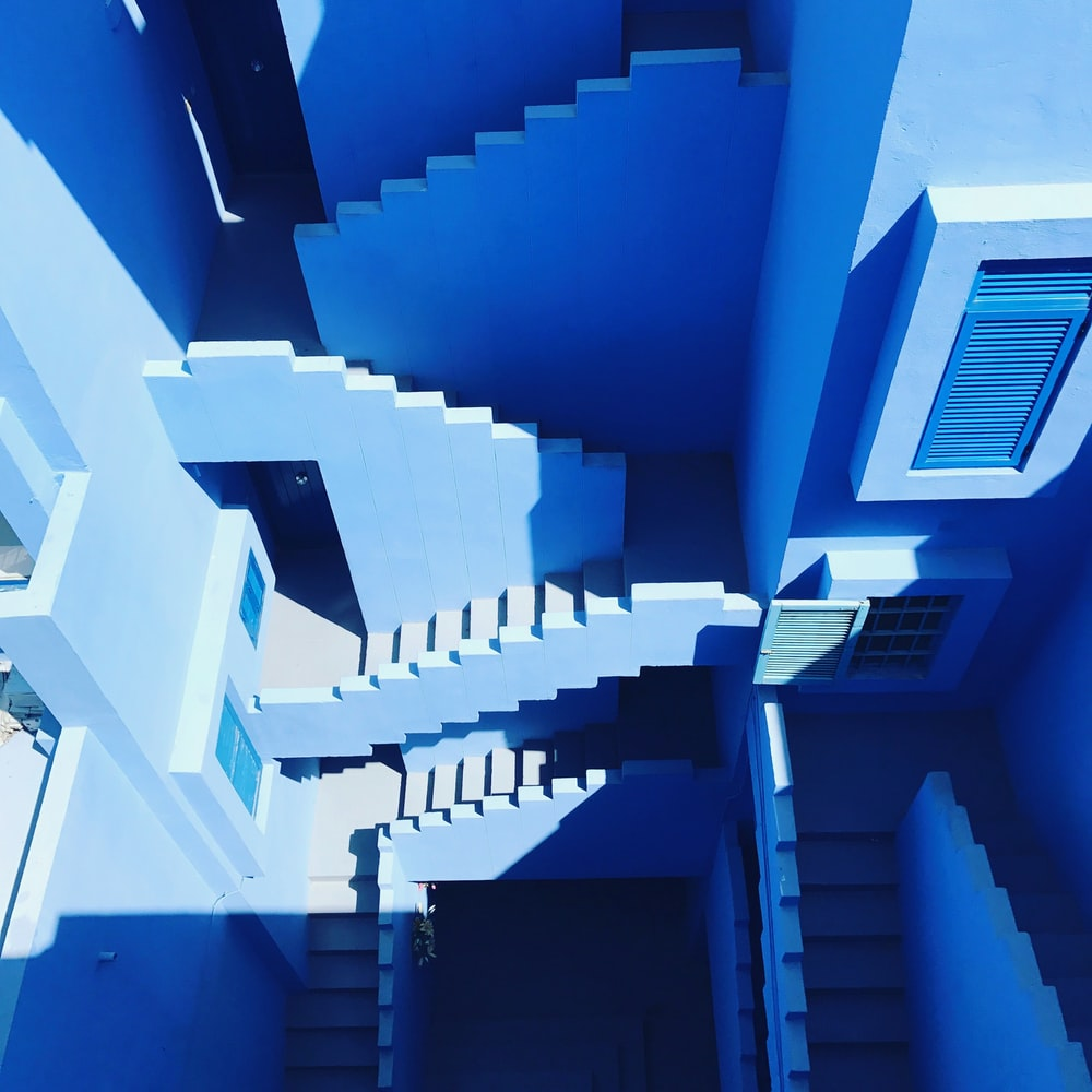high-angle photography of staircase
