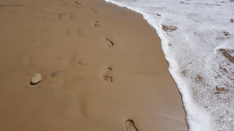 human footprint near on seashore
