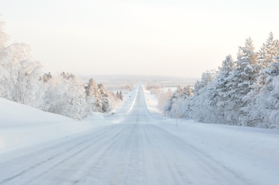 road covered with snow finland zoom background