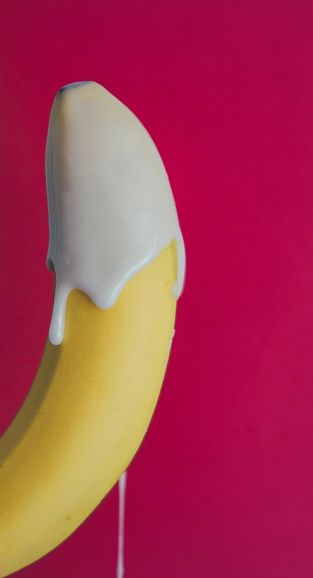 yellow banana with cream