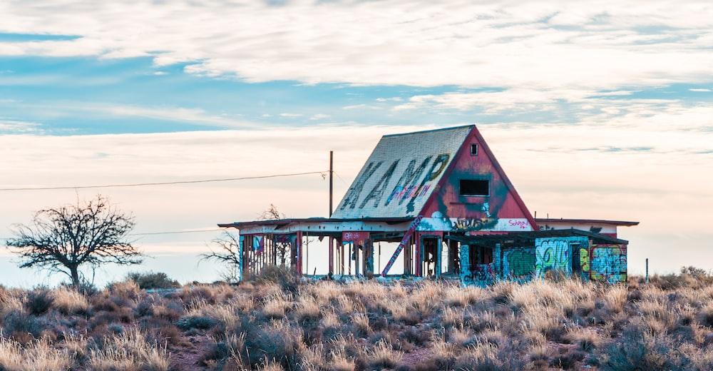 photo of a blue wood house
