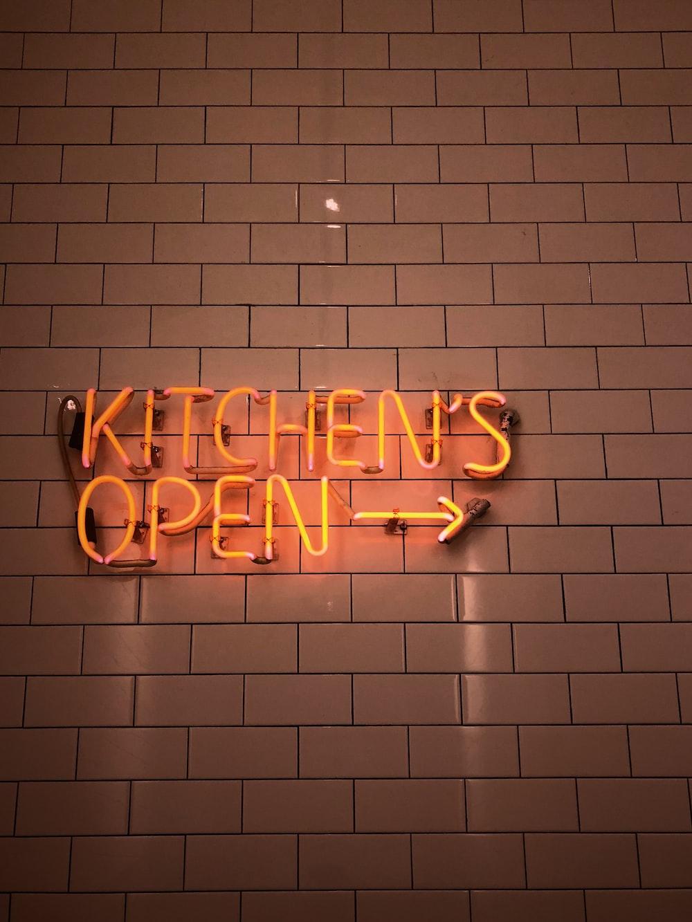 kitchen's open neon sign